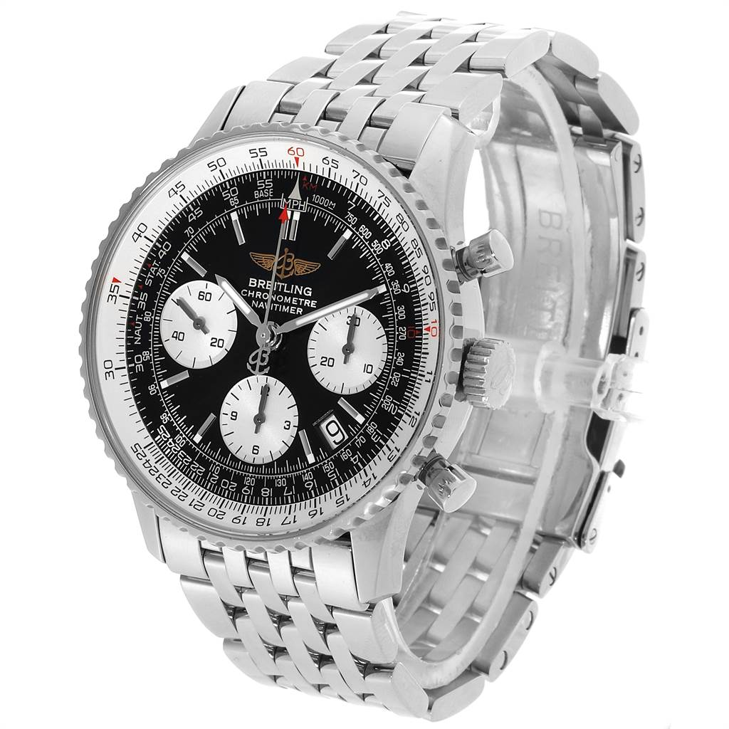 22092 Breitling Navitimer 42mm Black Baton Dial Steel Mens Watch A23322 SwissWatchExpo