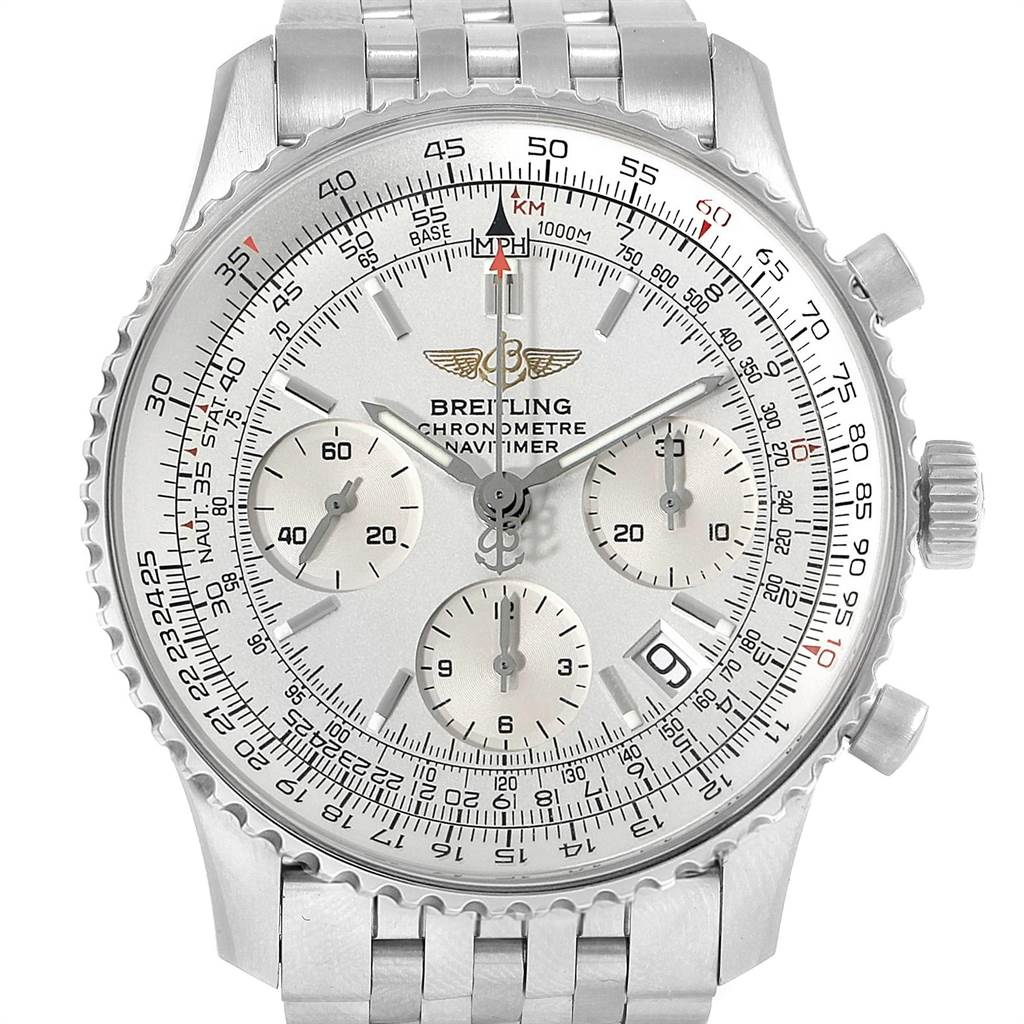 23265 Breitling Navitimer Chronograph Silver Dial Steel Mens Watch A23322 SwissWatchExpo