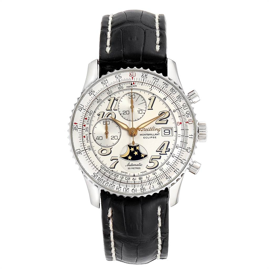 Breitling Navitimer Montbrillant Eclipse Moonphase Mens Watch A43030 SwissWatchExpo