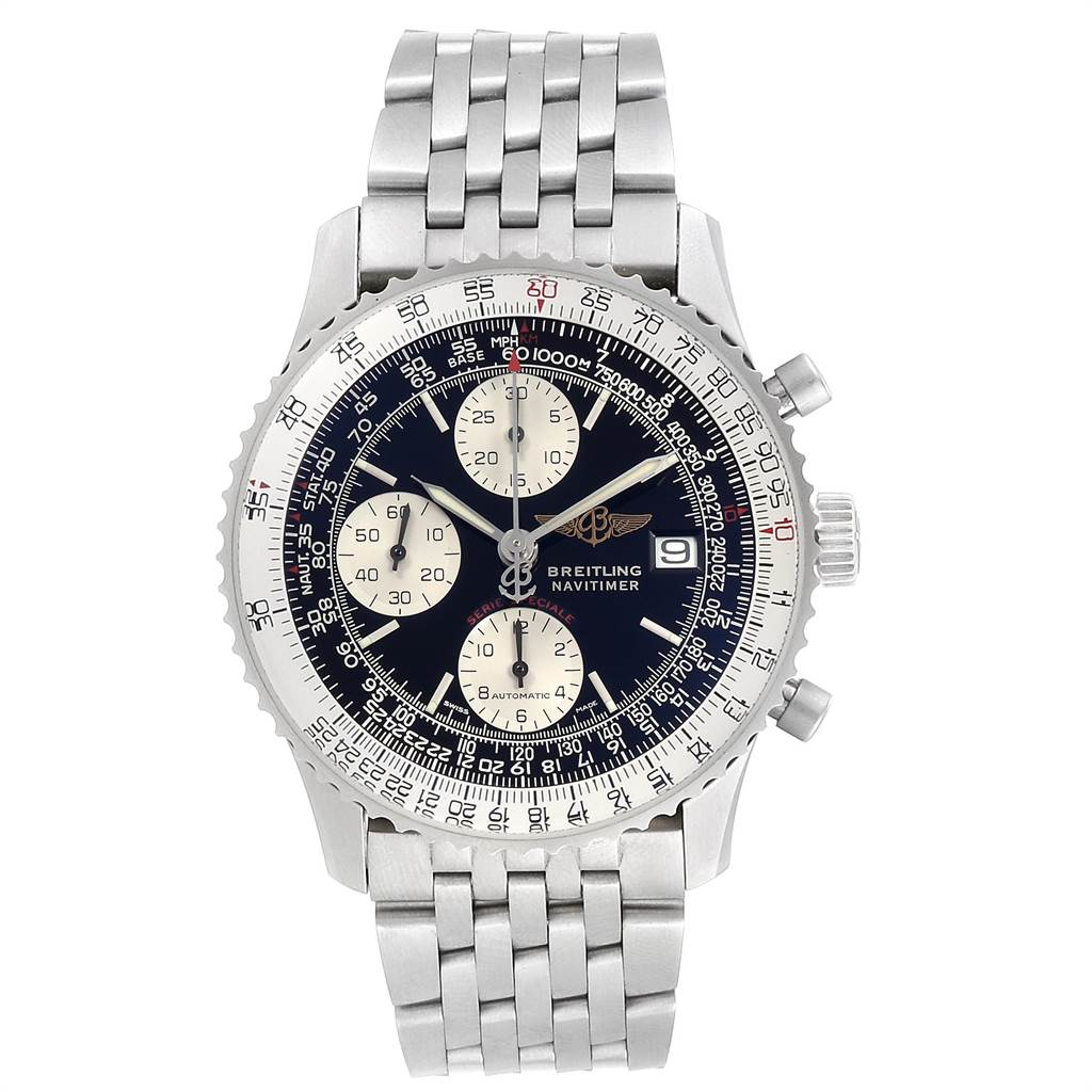 23635 Breitling Navitimer Fighter Chronograph Steel Mens Watch A13330 SwissWatchExpo