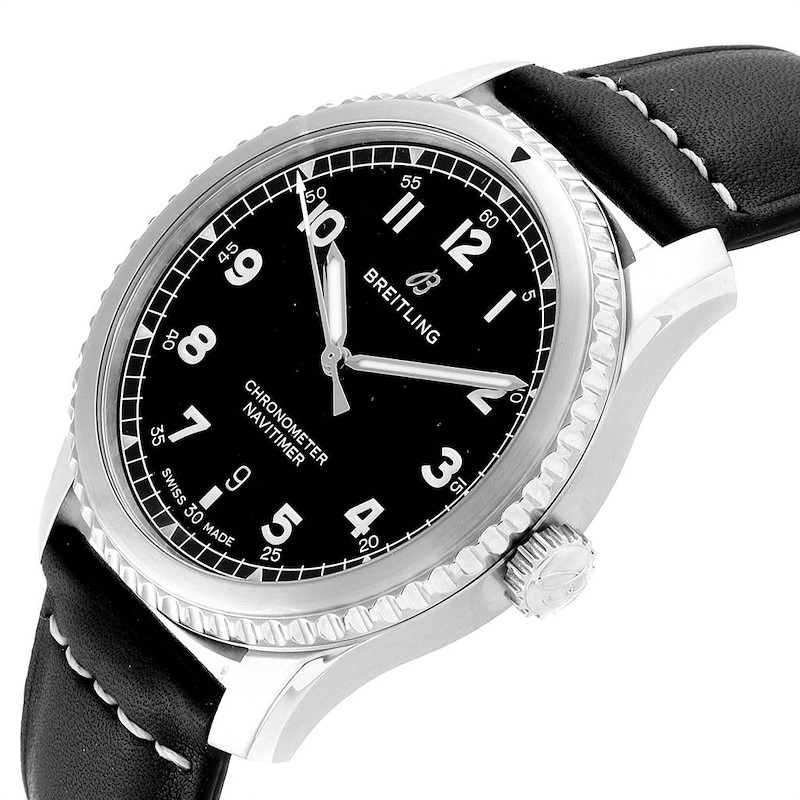 Breitling Navitimer Black Dial Leather Strap Steel Mens Watch A17314 SwissWatchExpo