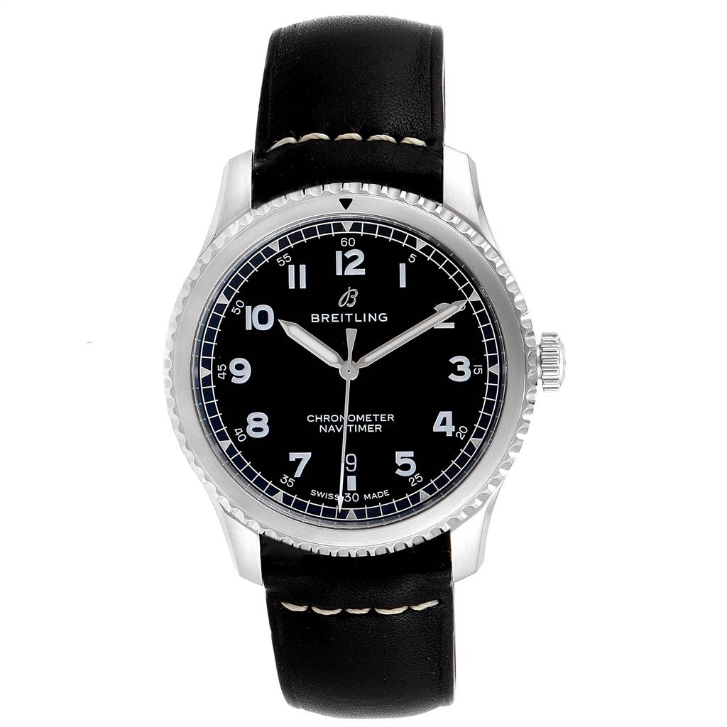 23704 Breitling Navitimer Black Dial Leather Strap Steel Mens Watch A17314 SwissWatchExpo