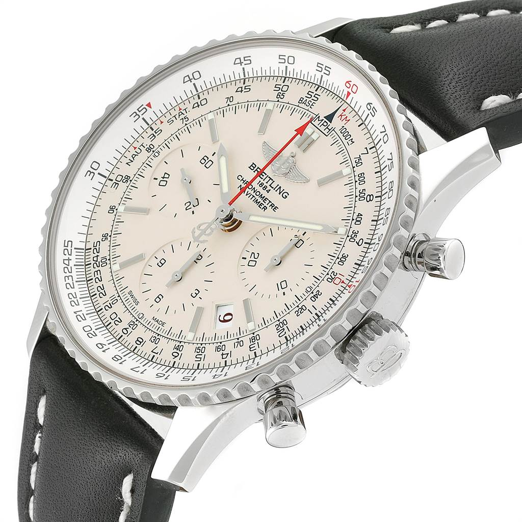 24141 Breitling Navitimer 01 Silver Dial Limited Edition Watch AB0123 Box Papers SwissWatchExpo
