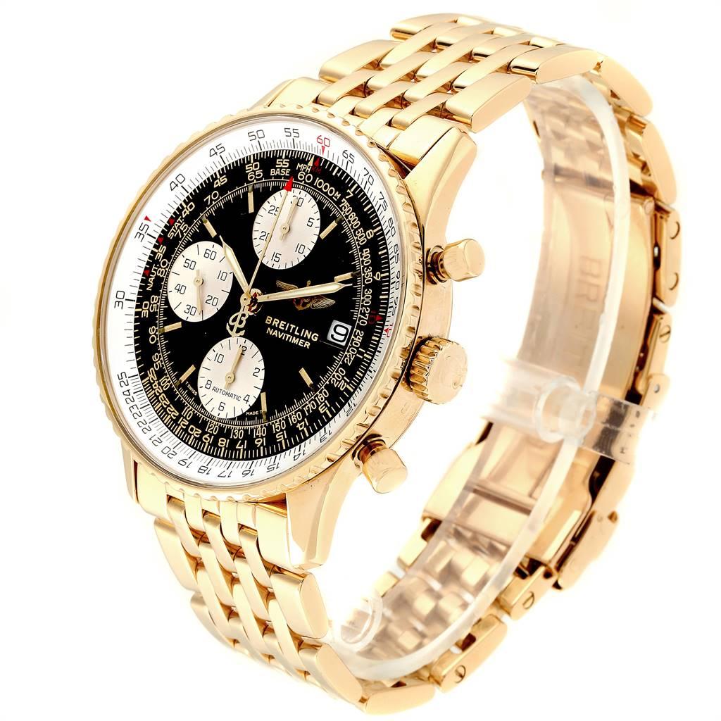 24199 Breitling Navitimer II Black Dial 18K Yellow Gold Mens Watch K13022 SwissWatchExpo
