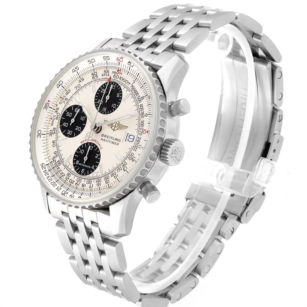 23636 Breitling Navitimer Fighter Panda Dial Steel Watch A13330 Box papers SwissWatchExpo