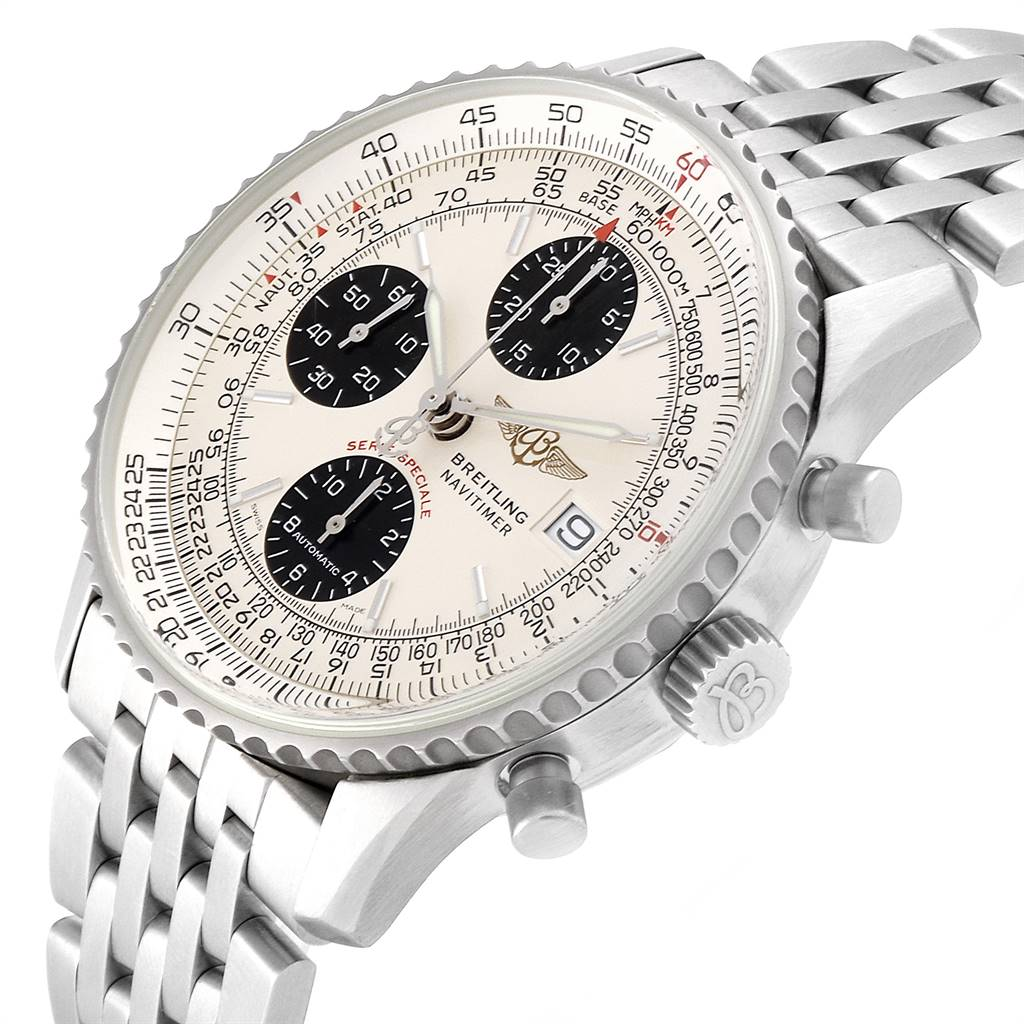 Breitling Navitimer Fighter Panda Dial Steel Watch A13330 Box papers SwissWatchExpo