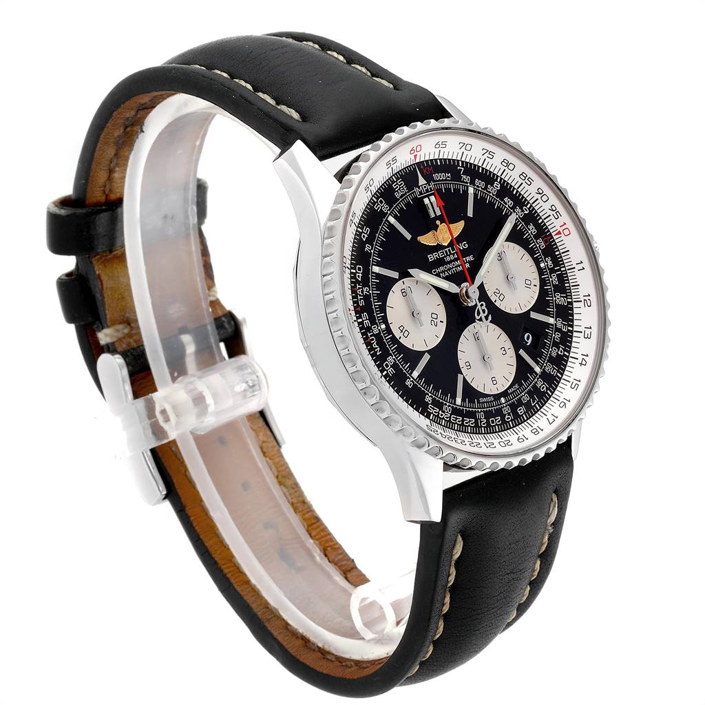 22535 Breitling Navitimer 01 Black Strap Automatic Mens Watch AB0120 SwissWatchExpo