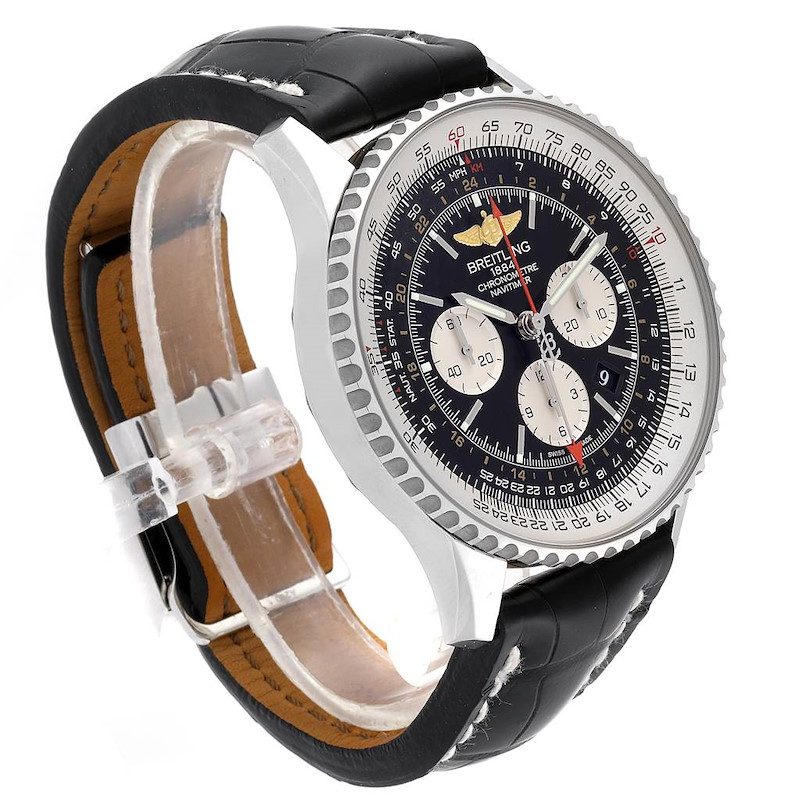 Breitling Navitimer GMT 48 Black Dial Leather Strap Mens Watch AB0441 SwissWatchExpo
