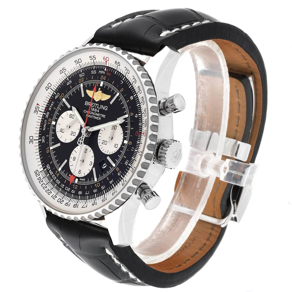 24425 Breitling Navitimer GMT 48 Black Dial Leather Strap Mens Watch AB0441 SwissWatchExpo