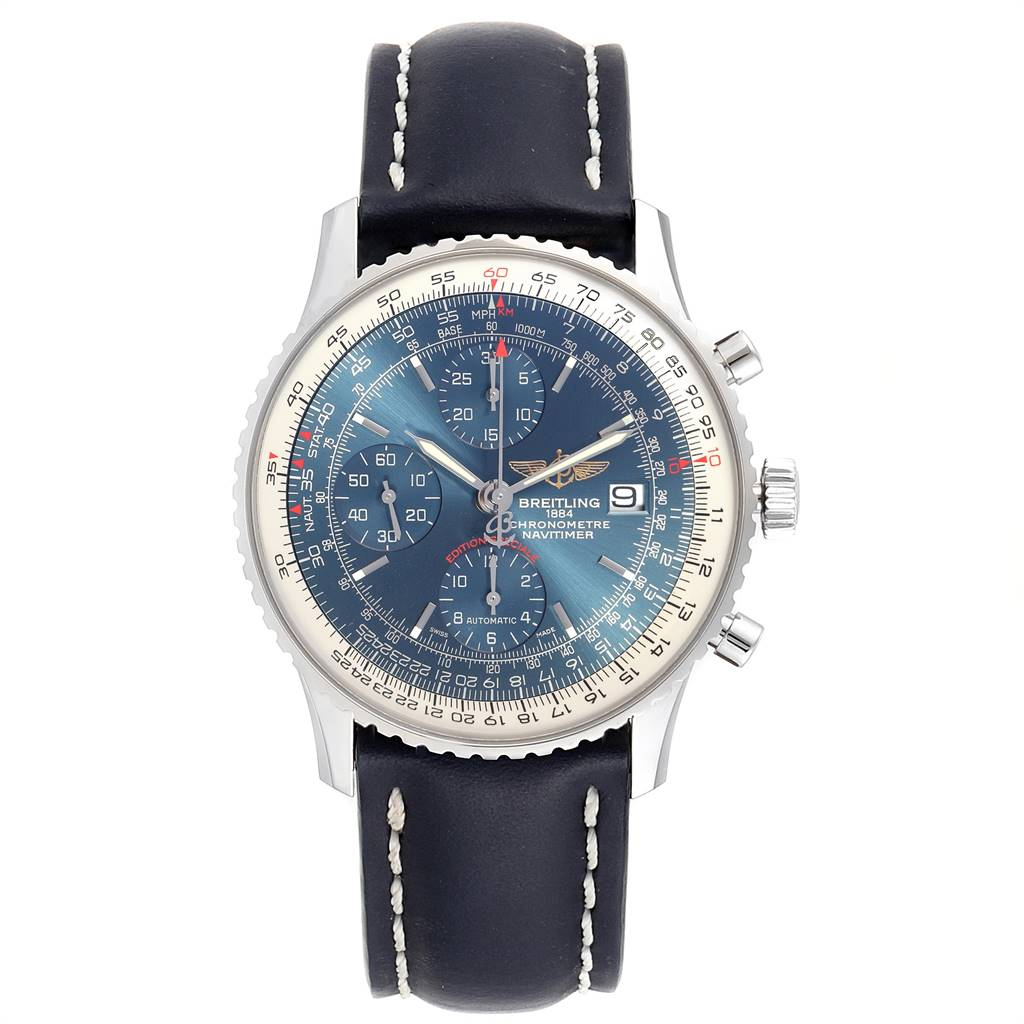 Breitling Navitimer Heritage Blue Dial Mens Watch A13324 Box Papers SwissWatchExpo