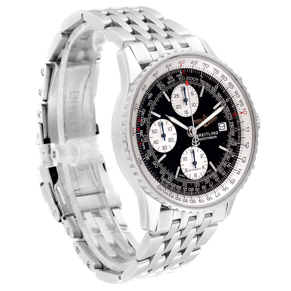 24587 Breitling Navitimer II Black Dial Chronograph Mens Watch A13322 SwissWatchExpo