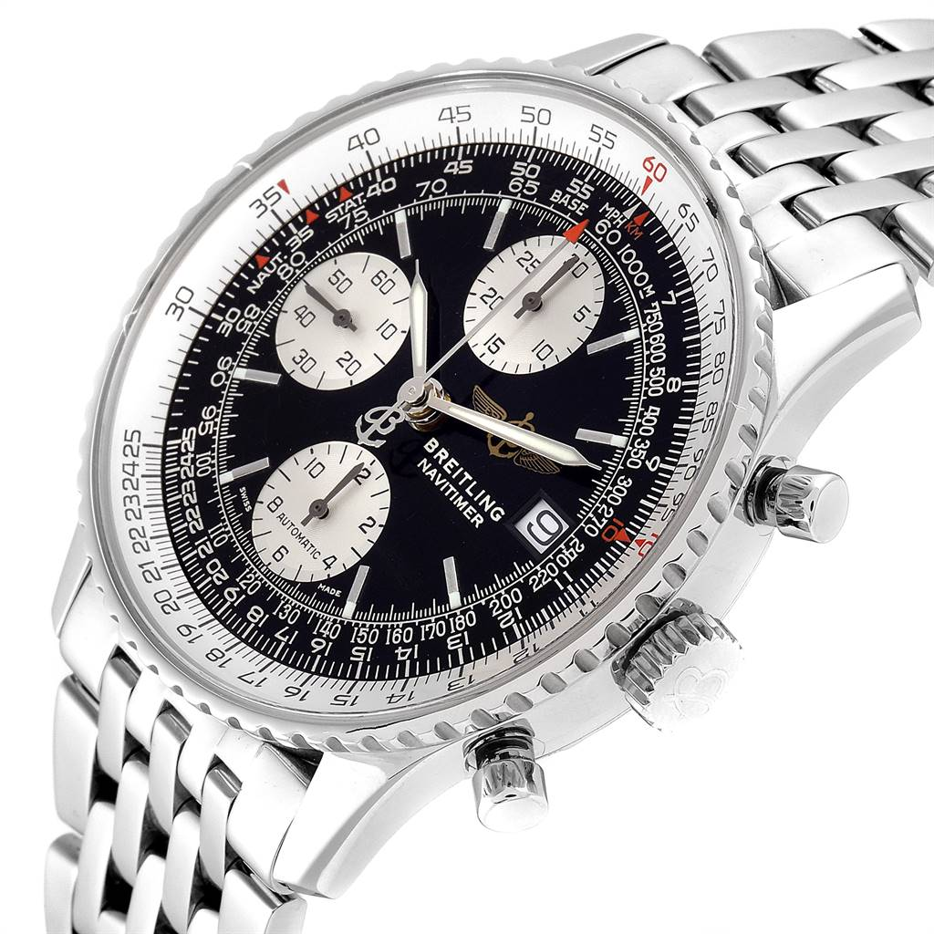 24723 Breitling Navitimer II Black Dial Chronograph Mens Watch A13322 SwissWatchExpo