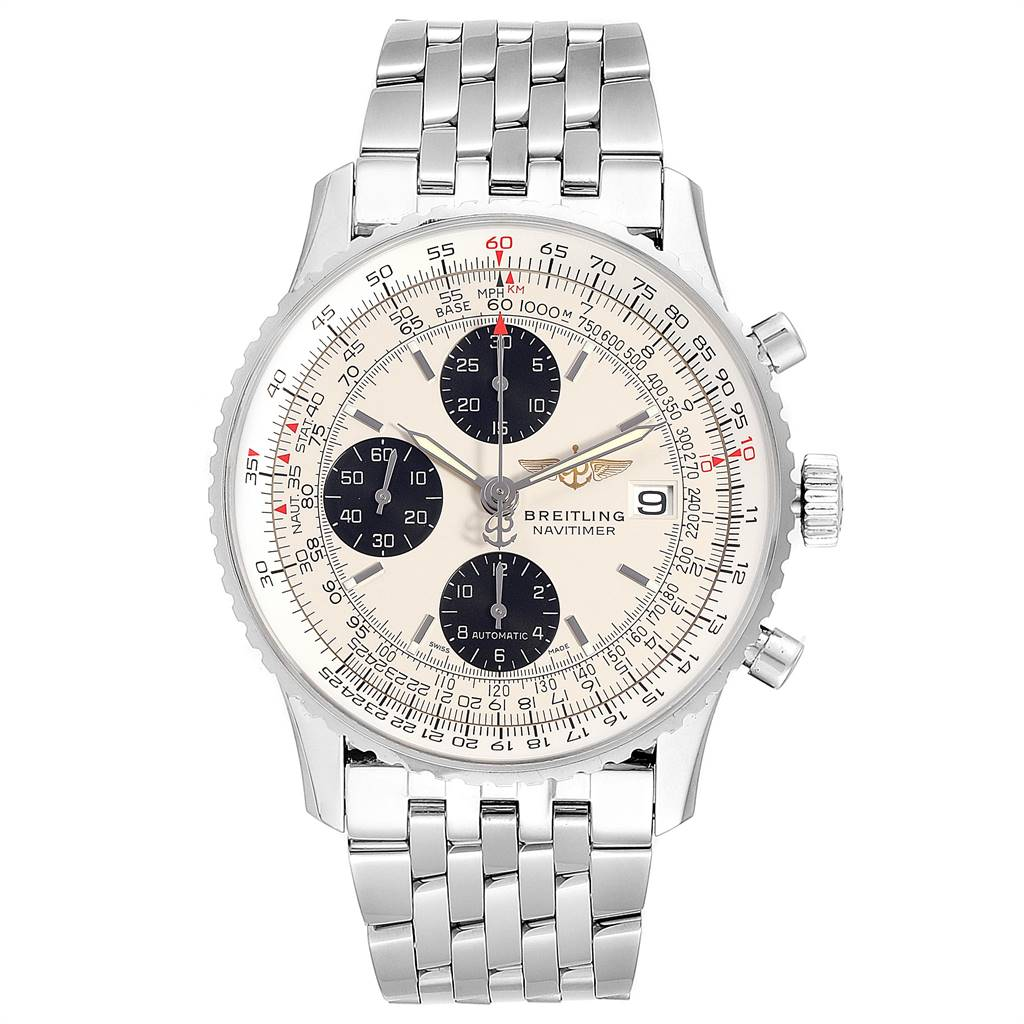 24786 Breitling Navitimer Heritage Silver Panda Dial Steel Mens Watch A13324 SwissWatchExpo