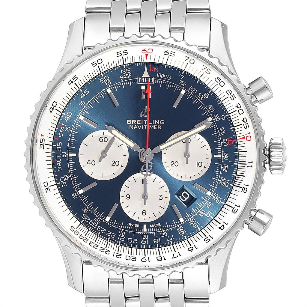 24891 Breitling Navitimer 01 46mm Aurora Blue Dial Mens Watch AB0127 Box Card SwissWatchExpo