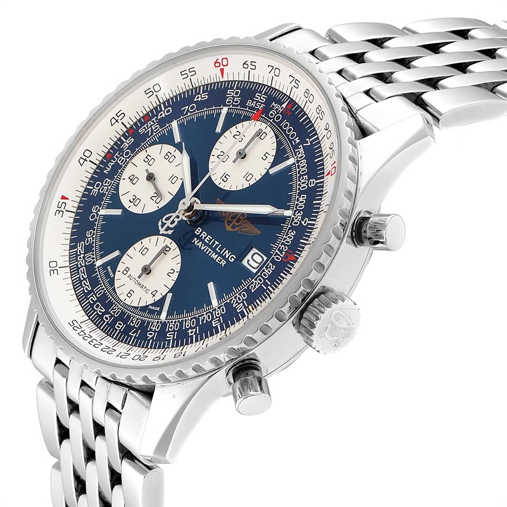 25475 Breitling Navitimer II Blue Dial Chronograph Steel Mens Watch A13322 SwissWatchExpo