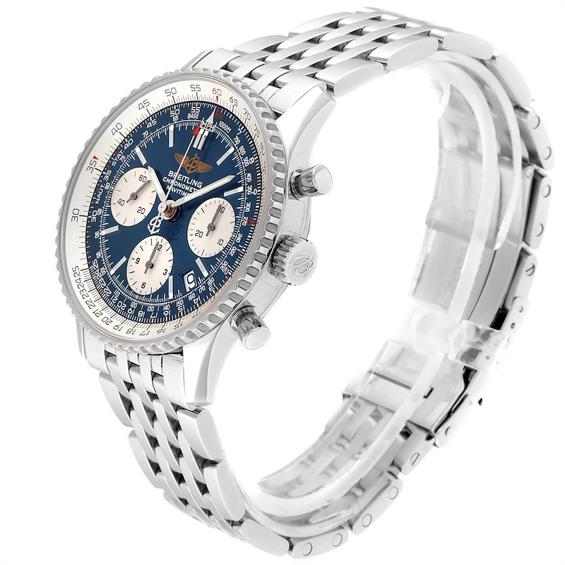 Breitling Navitimer 42mm Blue Baton Dial Steel Mens Watch A23322 Papers SwissWatchExpo