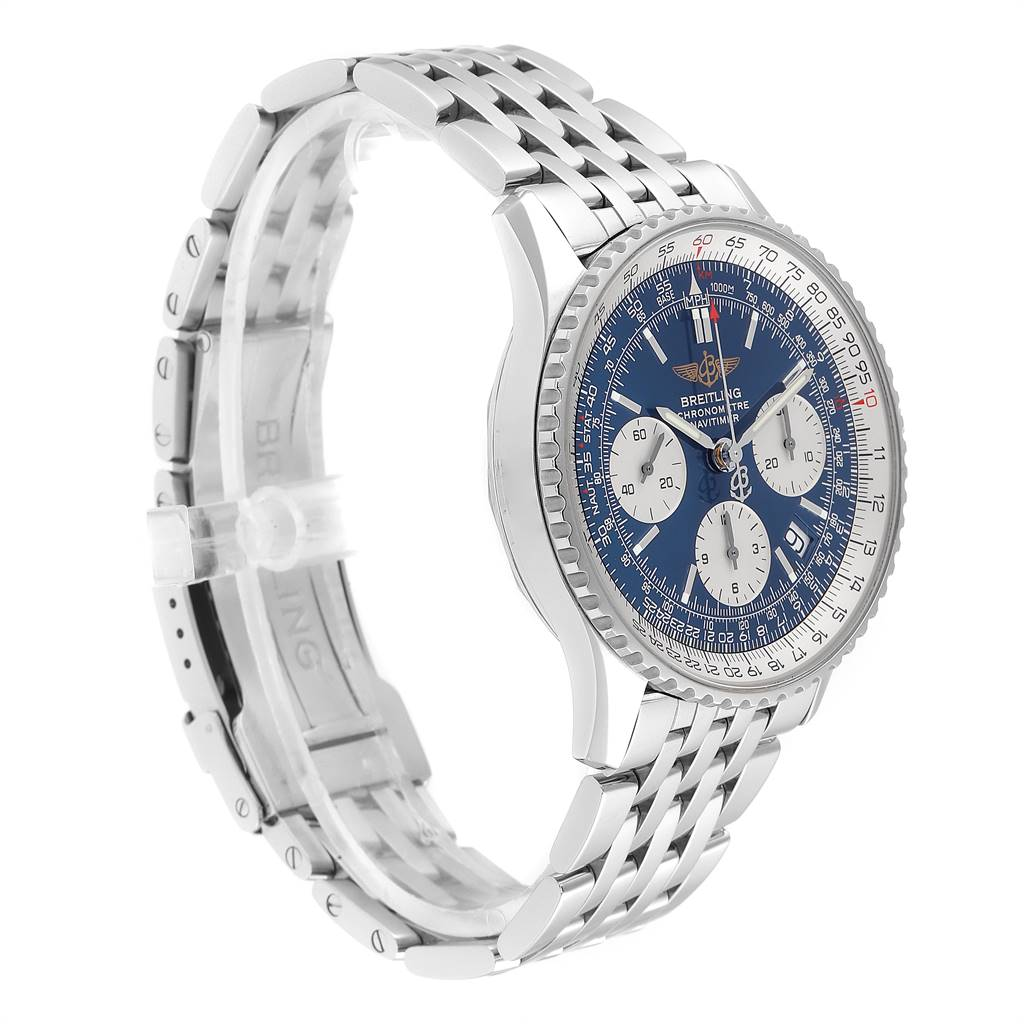 Breitling Navitimer 42mm Blue Dial Chronograph Steel Mens Watch A23322 SwissWatchExpo