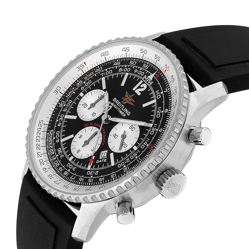 Breitling Navitimer 50th Anniversary Black Dial Steel Mens Watch A41322 SwissWatchExpo