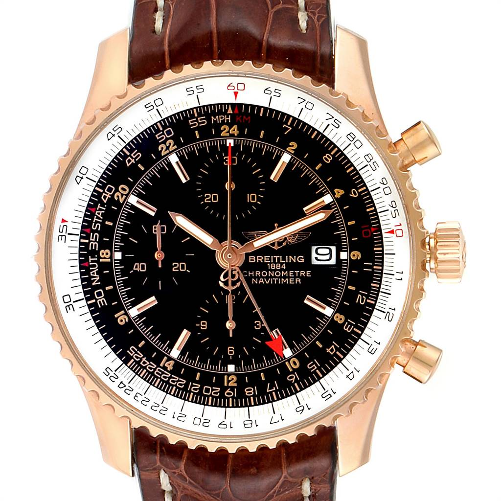 Breitling Navitimer World Rose Gold Limited Edition Mens Watch R24322