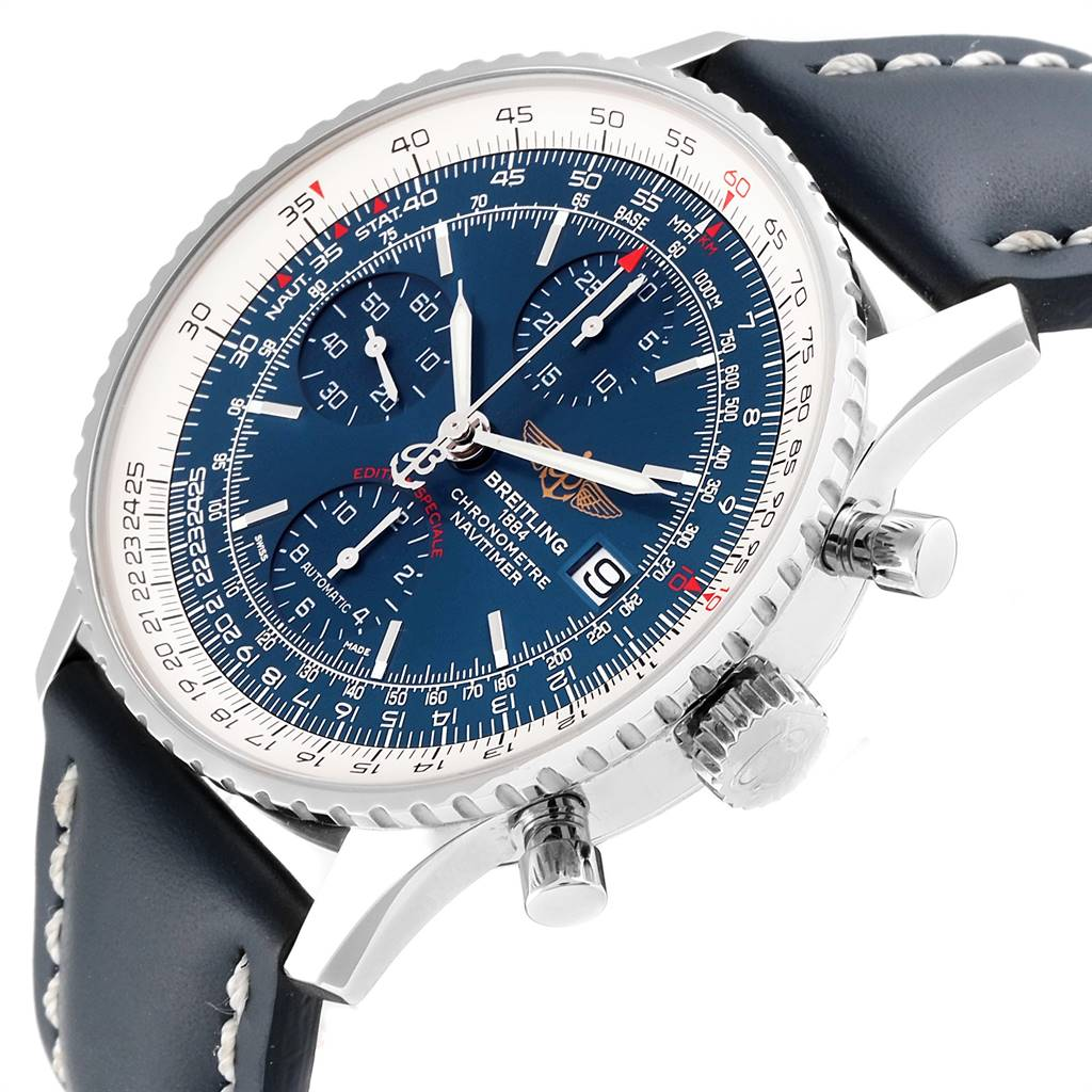 Breitling Navitimer Heritage Blue Dial Steel Mens Watch A13324 SwissWatchExpo