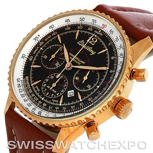 Breitling Navitimer Montbrilliant Chronograph 18K Rose Gold Watch H4133012 SwissWatchExpo
