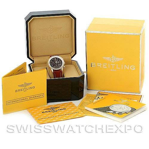 3088 Breitling Navitimer Montbrilliant Chronograph 18K Rose Gold Watch H4133012 SwissWatchExpo