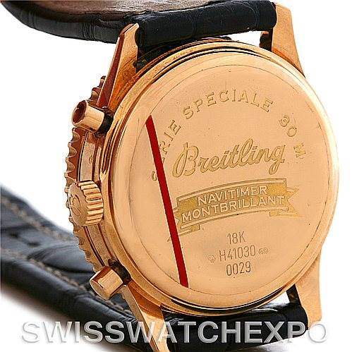 4355 Breitling Navitimer Montbrilliant Chronograph Rose Gold Watch H41030 SwissWatchExpo