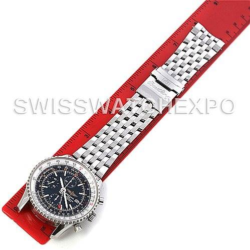 4464 Breitling Navitimer World Chronograph Steel Watch A24322 SwissWatchExpo