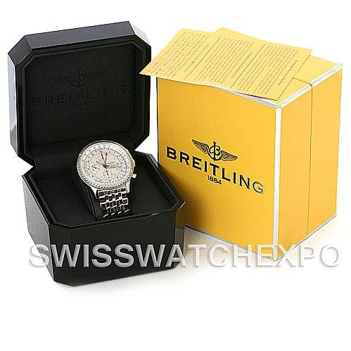 4500 Breitling Navitimer World Chronograph Steel Watch A24322 NOS SwissWatchExpo