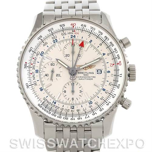 Photo of Breitling Navitimer World Chronograph Steel Watch A24322 NOS