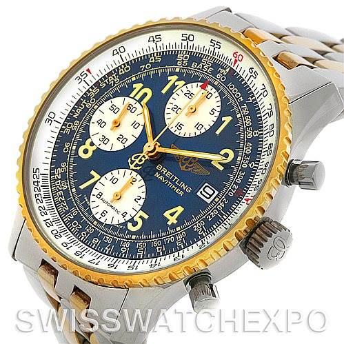Breitling Navitimer II Automatic Steel 18K Yellow Gold Watch D13022 SwissWatchExpo