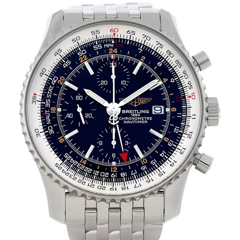 5089 Breitling Navitimer World Chronograph Steel Watch A24322 SwissWatchExpo