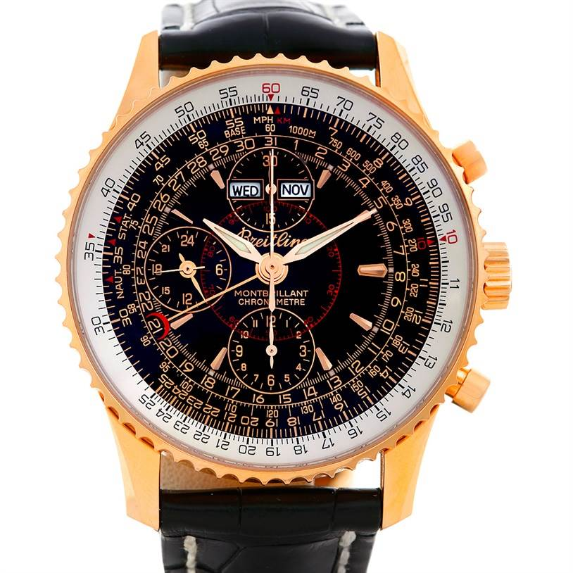 5570 Breitling Navitimer Montbrillant Datora 18K Rose Gold LE Watch R21330 SwissWatchExpo