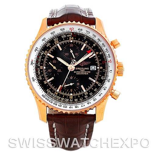 Breitling Navitimer World Chronograph 18K Rose Gold Watch R24322 154/500 LE SwissWatchExpo