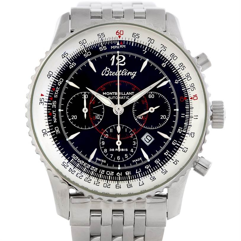 5555 Breitling Navitimer Montbrilliant Chronograph Steel Watch A41330 SwissWatchExpo