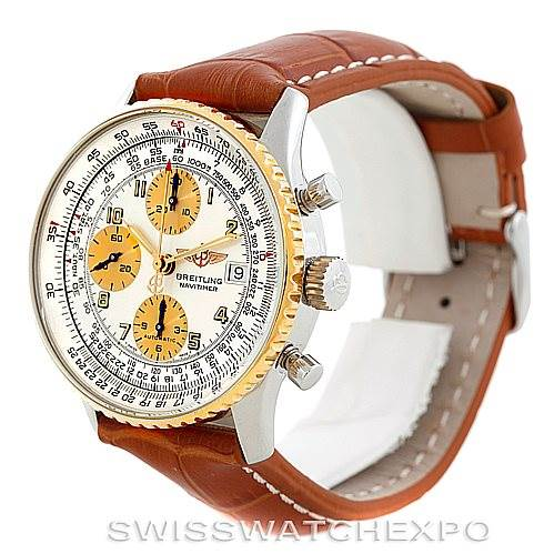 Breitling Navitimer Automatic Steel 18K Yellow Gold Watch B13019 SwissWatchExpo