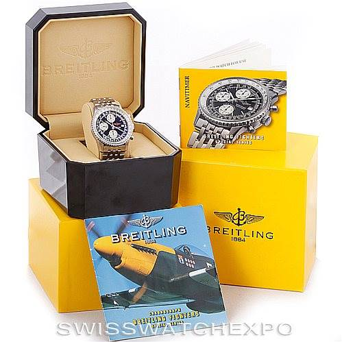 6663 Breitling Navitimer Fighter Automatic Chronograph Steel Watch A13330 SwissWatchExpo