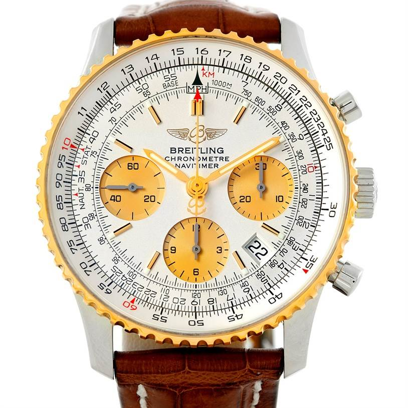 6808 Breitling Navitimer Steel and Gold Automatic Watch D23322 SwissWatchExpo