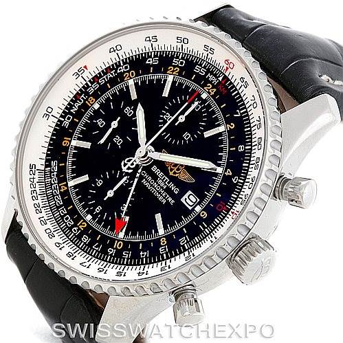 7077 Breitling Navitimer World Chronograph Steel Watch A24322 SwissWatchExpo