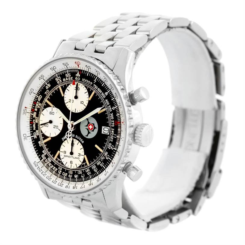 7233 Breitling Navitimer II Automatic Steel Black Dial Mens Watch A13022 SwissWatchExpo