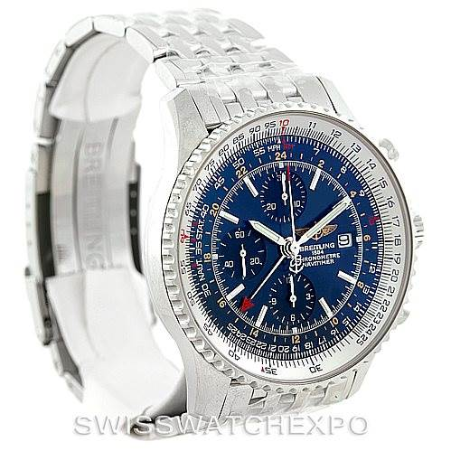 7190 Breitling Navitimer World Chronograph Steel Watch A24322 SwissWatchExpo