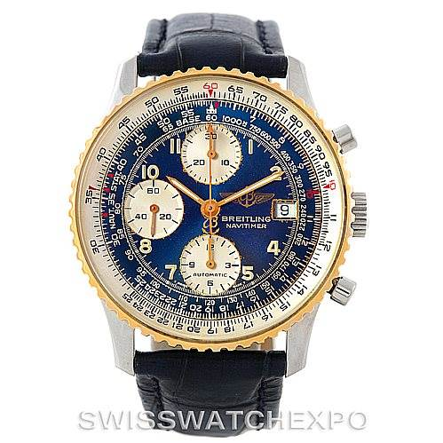 6830 Breitling Navitimer II Automatic Steel 18K Yellow Gold Watch D13022 SwissWatchExpo