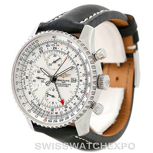 7352 Breitling Navitimer World Chronograph Steel Watch A24322 SwissWatchExpo