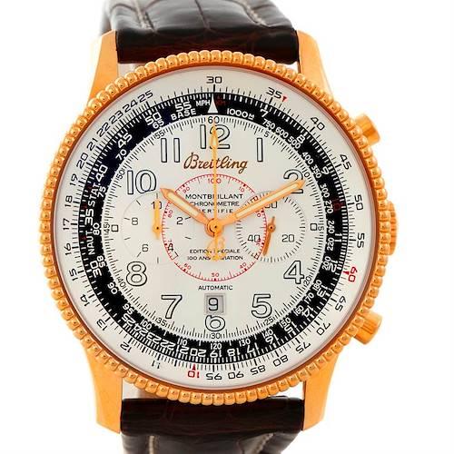 Photo of Breitling Navitimer Montbrillant 18K Rose Gold Watch H35330 Limited