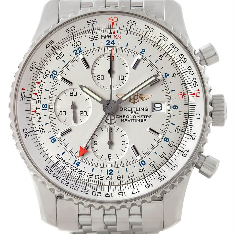 7394 Breitling Navitimer World Chronograph Steel Watch A24322 SwissWatchExpo