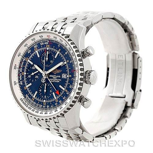 7765 Breitling Navitimer World Chronograph Steel Watch A24322 Unworn SwissWatchExpo