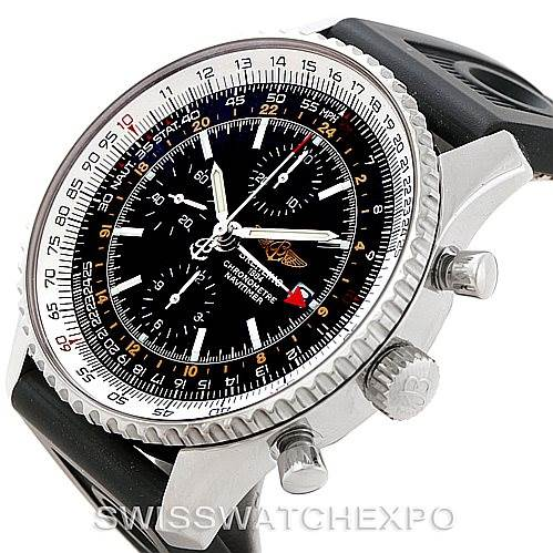 7722 Breitling Navitimer World Chronograph Steel Watch A24322 SwissWatchExpo