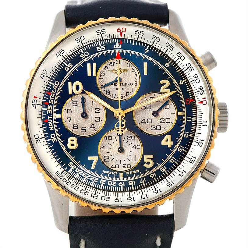 8209 Breitling Navitimer Airborne Steel 18K Yellow Gold Watch D33030 SwissWatchExpo