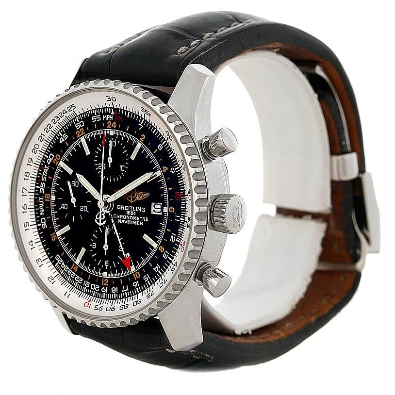 8369 Breitling Navitimer World Chronograph Steel Watch A24322 SwissWatchExpo
