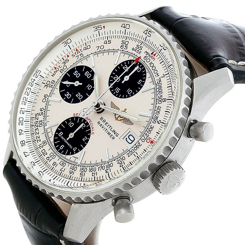 8334 Breitling Navitimer Fighter Automatic Chronograph Steel Watch A13330 SwissWatchExpo